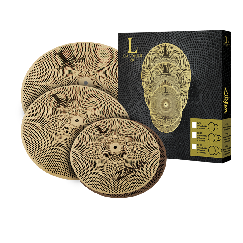 "Zildjian L80 Low Volume Cymbal Set, 14"" Hi-Hats, 16"" Crash, And 18"" Crash Ride"