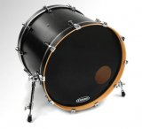 "26"" Evans Non-Level 360 EQ3 Side Ported Resonant Bass Drum Drumhead, Black"