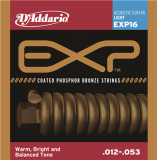 D'Addario EXP16 NY Steel Phosphor Bronze Acoustic Guitar Strings, Light, 12-53