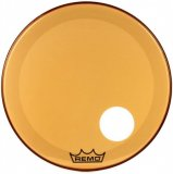 "26"" Remo Powerstroke 3 Colortone Bass Drum Head, Orange, With Port Hole, P3-1326-CT-OGOH"