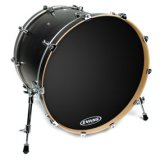 "24"" Non-Level 360 Evans EQ3 Resonant Bass Drum Drumhead, No Port, Black"