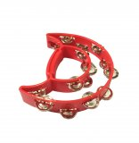 Double Moon Tambourine, Red, By dFd