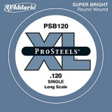 D'Addario PSB120 ProSteels Bass Guitar Single String, Long Scale, .120