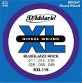 D'Addario EXL115 Nickel Wound Electric Guitar Strings, Medium Blues/Jazz Rock, 11-49