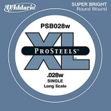 D'Addario PSB028W ProSteels Bass Guitar Single String, Long Scale, .028
