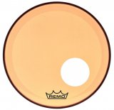 "18"" Remo Powerstroke 3 Colortone Bass Drum Head, Orange, With Port Hole, P3-1318-CT-OGOH"